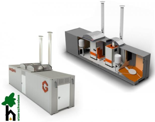Mobiler Heizcontainer 100 bis 600 kW - Pellets und Hackschnitzel - Heizzentrale für Industrie mit BAFA